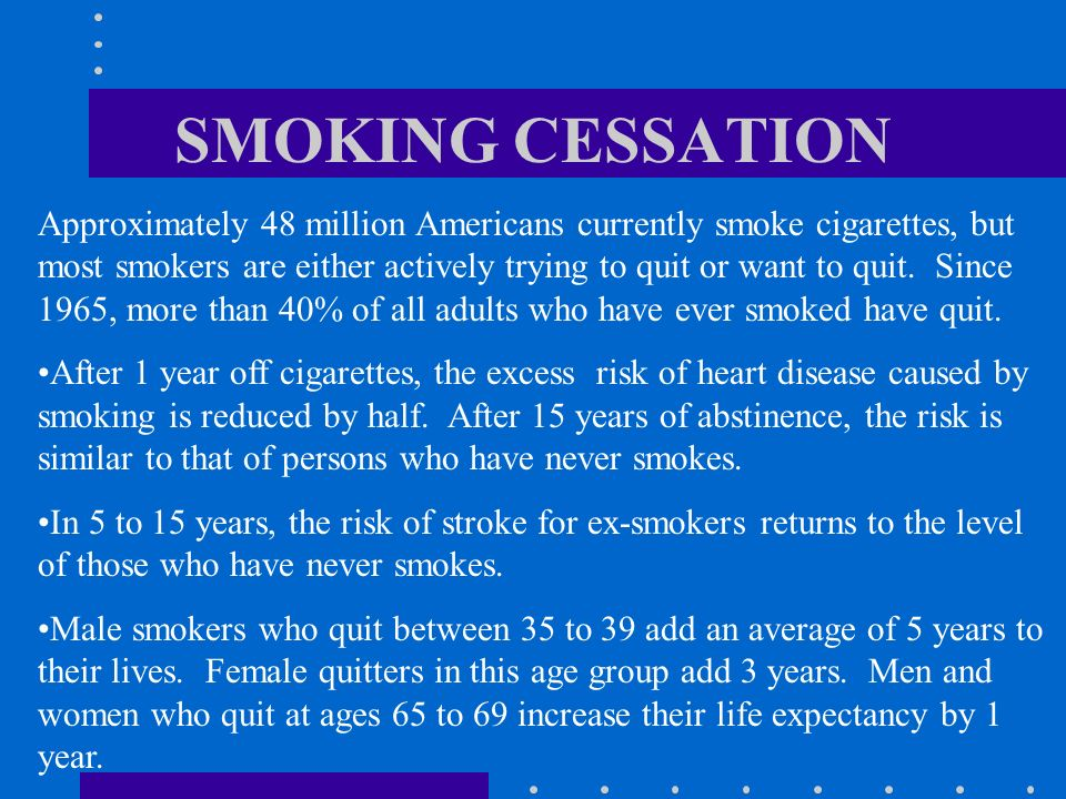 SMOKING CESSATION Approximately 48 million Americans currently smoke cigarettes, but most smokers are either actively trying to quit or want to quit.