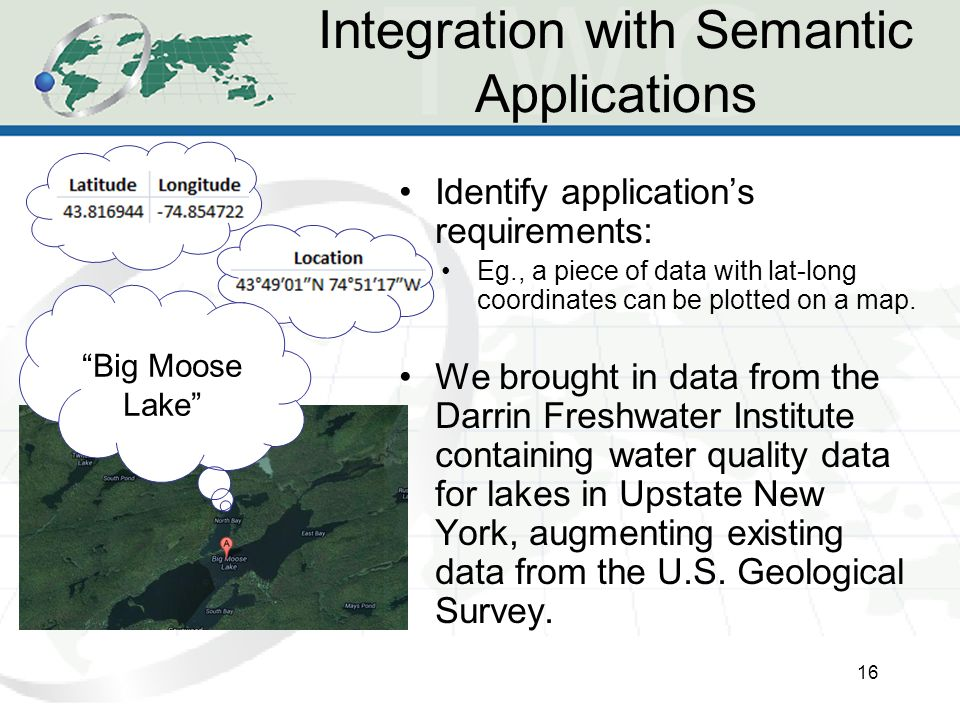 Integration with Semantic Applications 16 Identify application's requirements: Eg., a piece of data with lat-long coordinates can be plotted on a map.