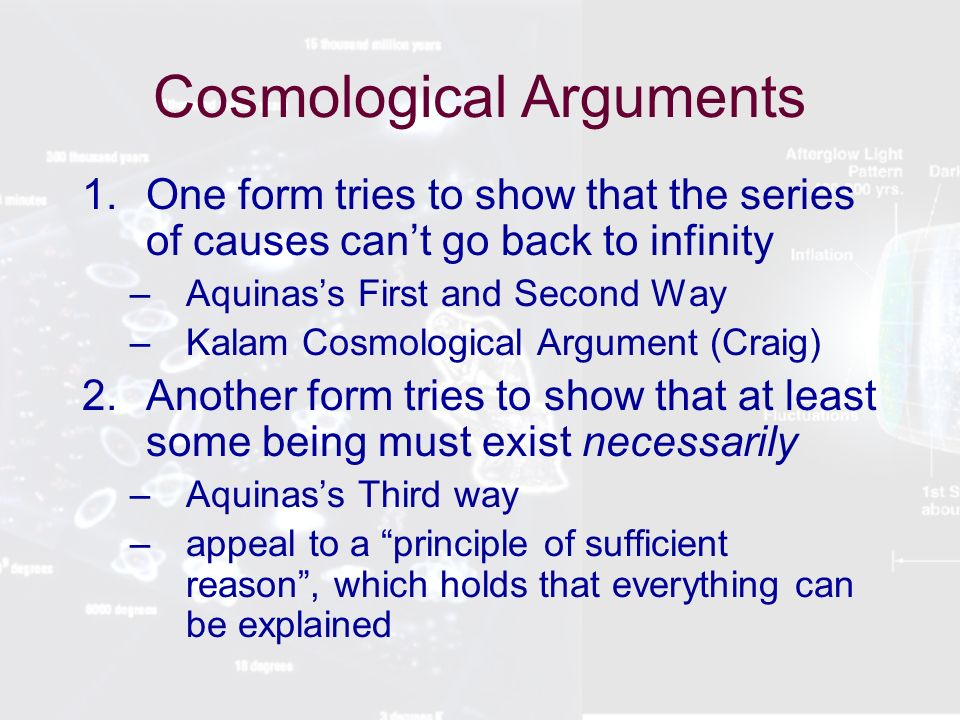 kalam cosmological argument essay Like most arguments for the existence of god, the cosmological argument exists in several forms two are discussed here: the temporal, kalam cosmological argument (ie the first cause argument), and the modal argument from contingency.