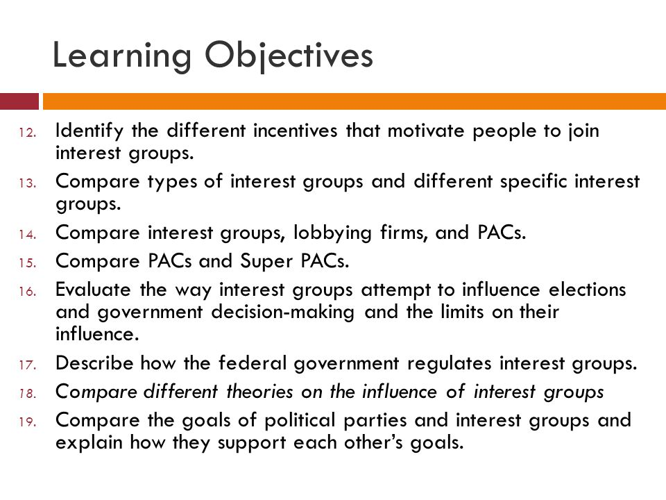 Learning Objectives 12.