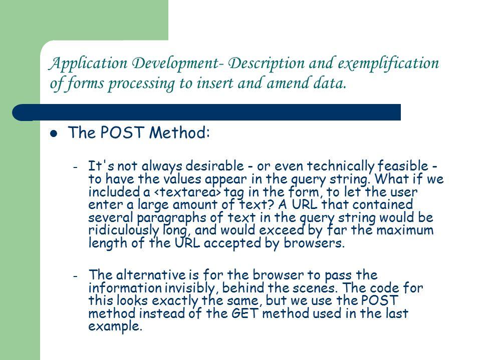 Application Development Description and exemplification of