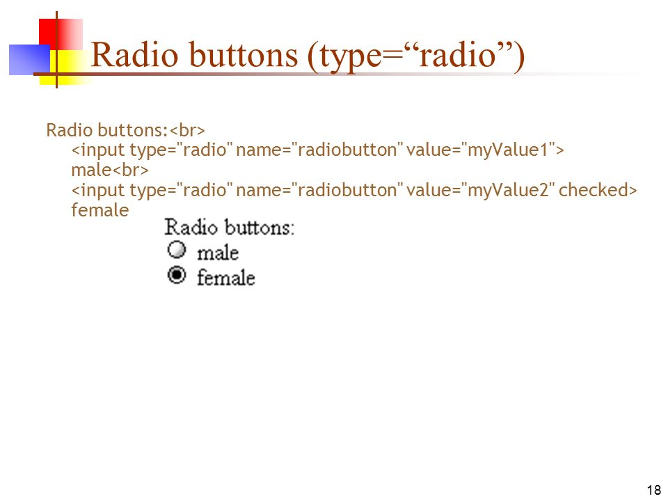18 Radio buttons (type= radio ) Radio buttons: male female