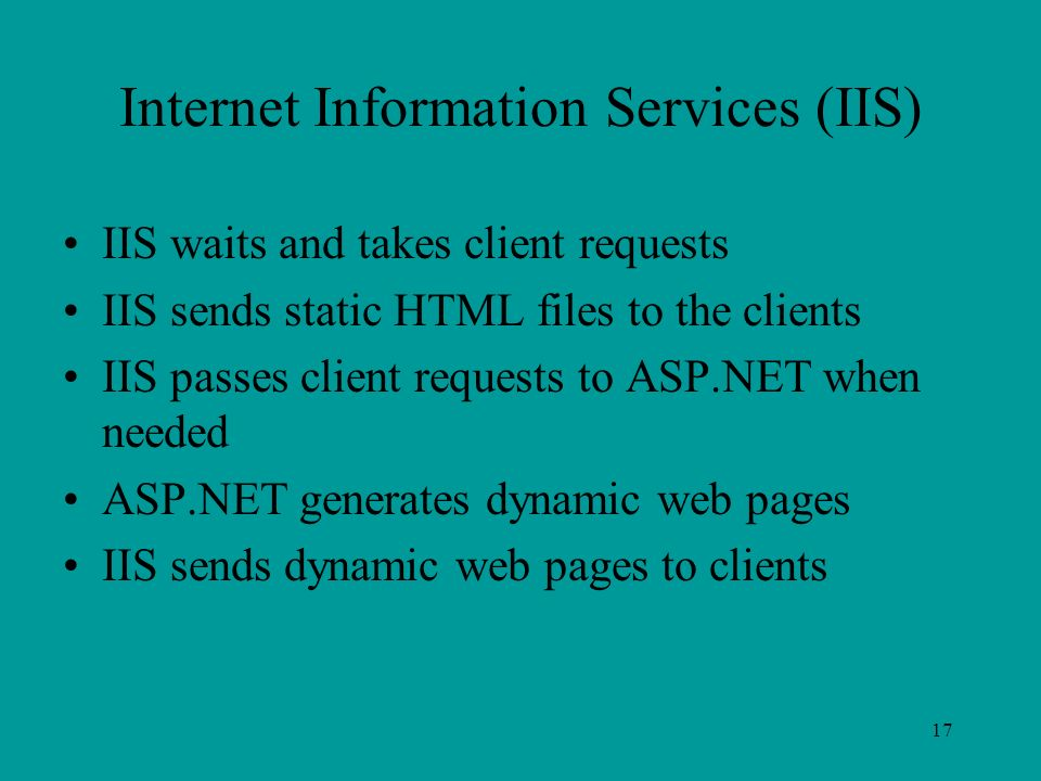 17 Internet Information Services (IIS) IIS waits and takes client requests IIS sends static HTML files to the clients IIS passes client requests to ASP.NET when needed ASP.NET generates dynamic web pages IIS sends dynamic web pages to clients