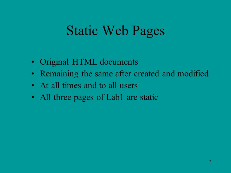 2 Static Web Pages Original HTML documents Remaining the same after created and modified At all times and to all users All three pages of Lab1 are static