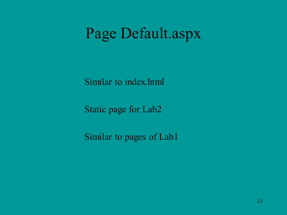 23 Page Default.aspx Similar to index.html Static page for Lab2 Similar to pages of Lab1