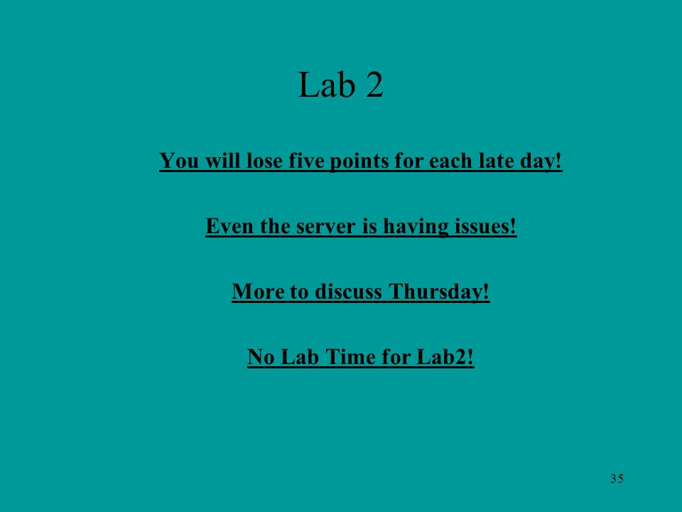 35 Lab 2 You will lose five points for each late day.
