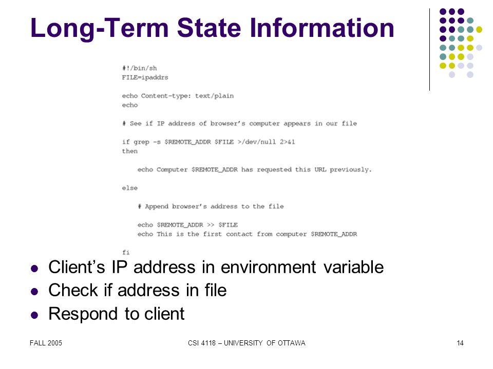 FALL 2005CSI 4118 – UNIVERSITY OF OTTAWA14 Long-Term State Information Client's IP address in environment variable Check if address in file Respond to client