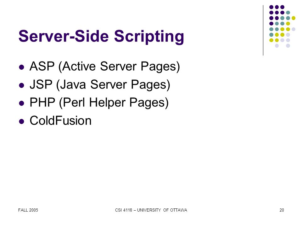 FALL 2005CSI 4118 – UNIVERSITY OF OTTAWA20 Server-Side Scripting ASP (Active Server Pages) JSP (Java Server Pages) PHP (Perl Helper Pages) ColdFusion
