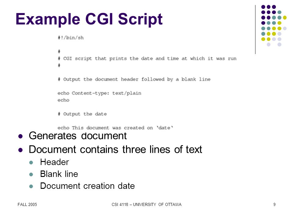 FALL 2005CSI 4118 – UNIVERSITY OF OTTAWA9 Example CGI Script Generates document Document contains three lines of text Header Blank line Document creation date