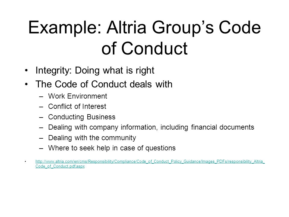 Cs 305 an overview of ethics example altria groups code of 2 example altria groups code accmission Choice Image