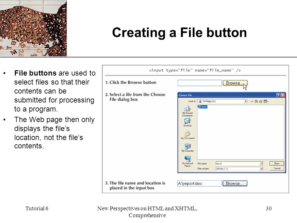 XP Tutorial 6New Perspectives on HTML and XHTML, Comprehensive 30 Creating a File button File buttons are used to select files so that their contents can be submitted for processing to a program.