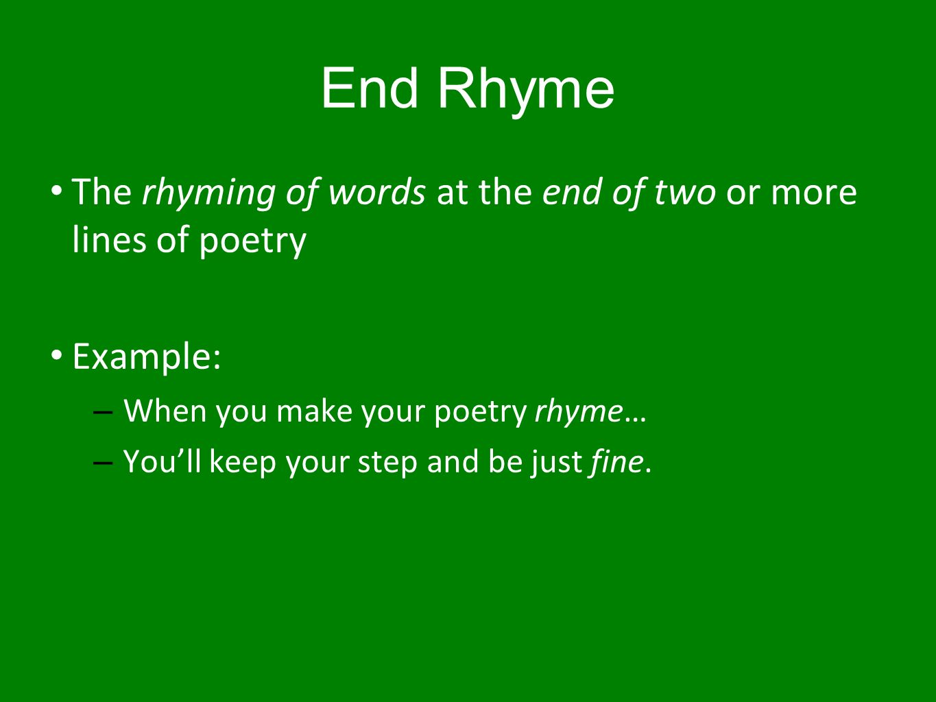 Examples of end rhyme choice image example of resume for student.