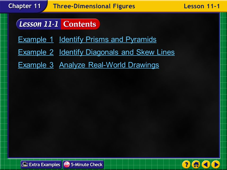 Lesson 1 Contents Example 1identify Prisms And Pyramids Example