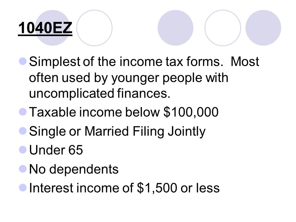 Simplest of the income tax forms. Most often used by younger people with uncomplicated finances.