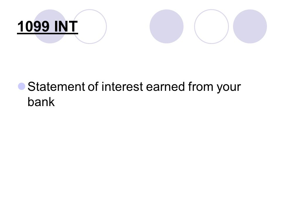 1099 INT Statement of interest earned from your bank