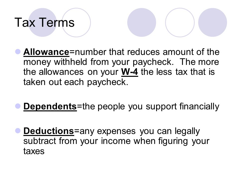 Tax Terms Allowance=number that reduces amount of the money withheld from your paycheck.