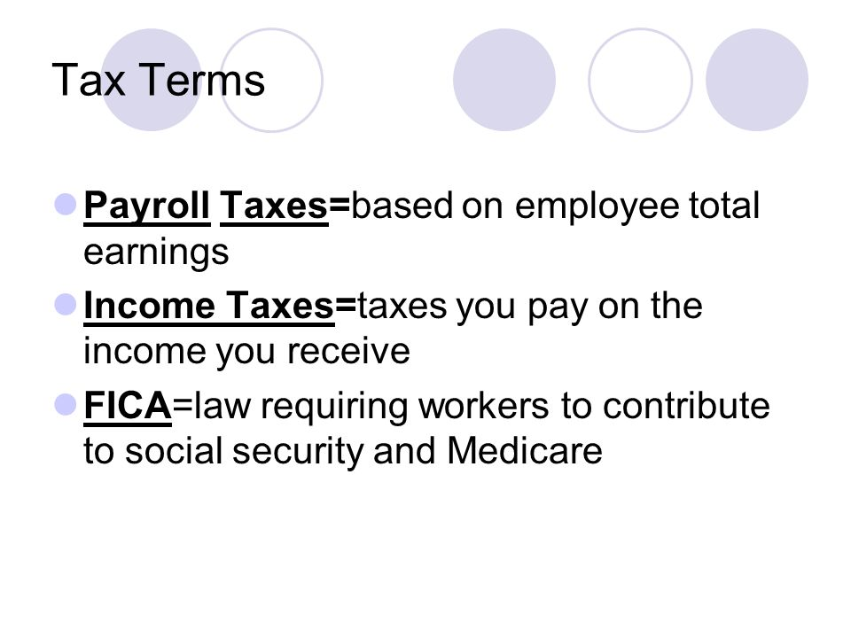 Tax Terms Payroll Taxes=based on employee total earnings Income Taxes=taxes you pay on the income you receive FICA=law requiring workers to contribute to social security and Medicare