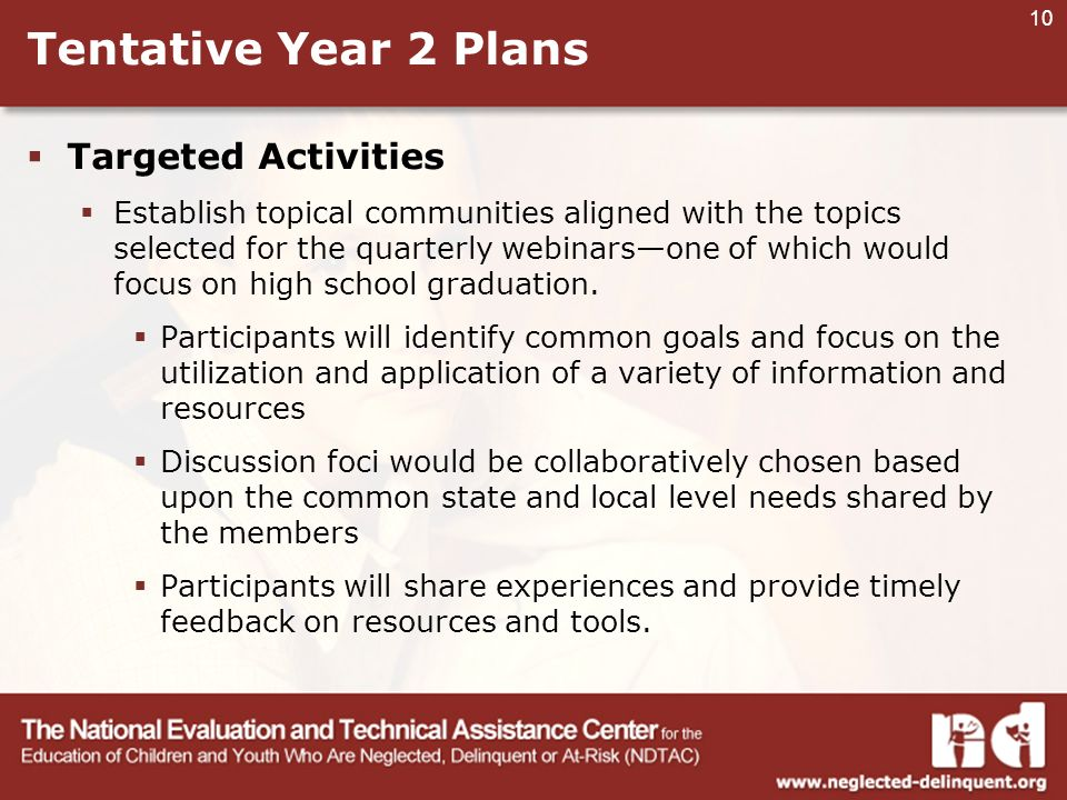 10 Tentative Year 2 Plans  Targeted Activities  Establish topical communities aligned with the topics selected for the quarterly webinars—one of which would focus on high school graduation.