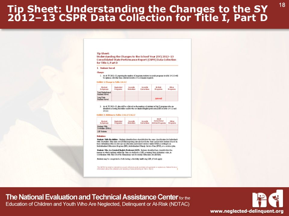 18 Tip Sheet: Understanding the Changes to the SY 2012–13 CSPR Data Collection for Title I, Part D