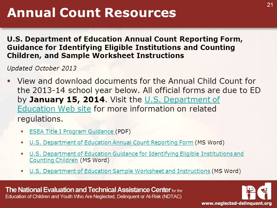 21 Annual Count Resources U.S.