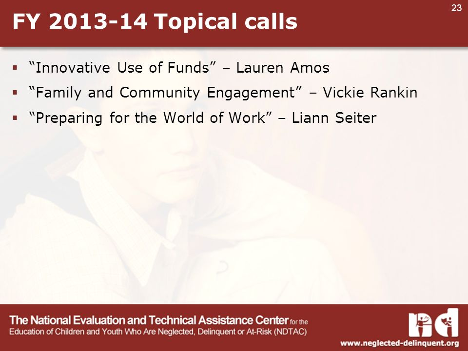23 FY Topical calls  Innovative Use of Funds – Lauren Amos  Family and Community Engagement – Vickie Rankin  Preparing for the World of Work – Liann Seiter
