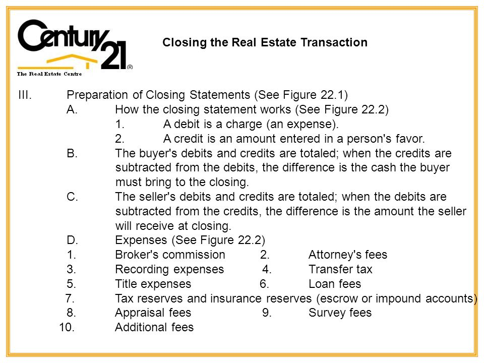 Closing The Real Estate Transaction Lecture Outline Ie Closing