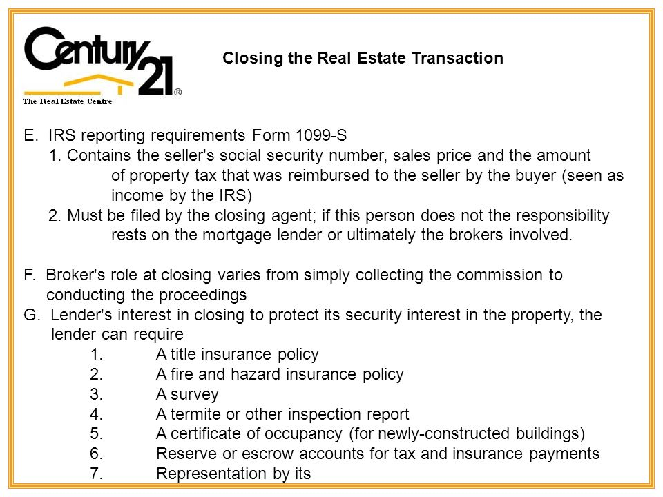 Closing The Real Estate Transaction Lecture Outline Ipre Closing