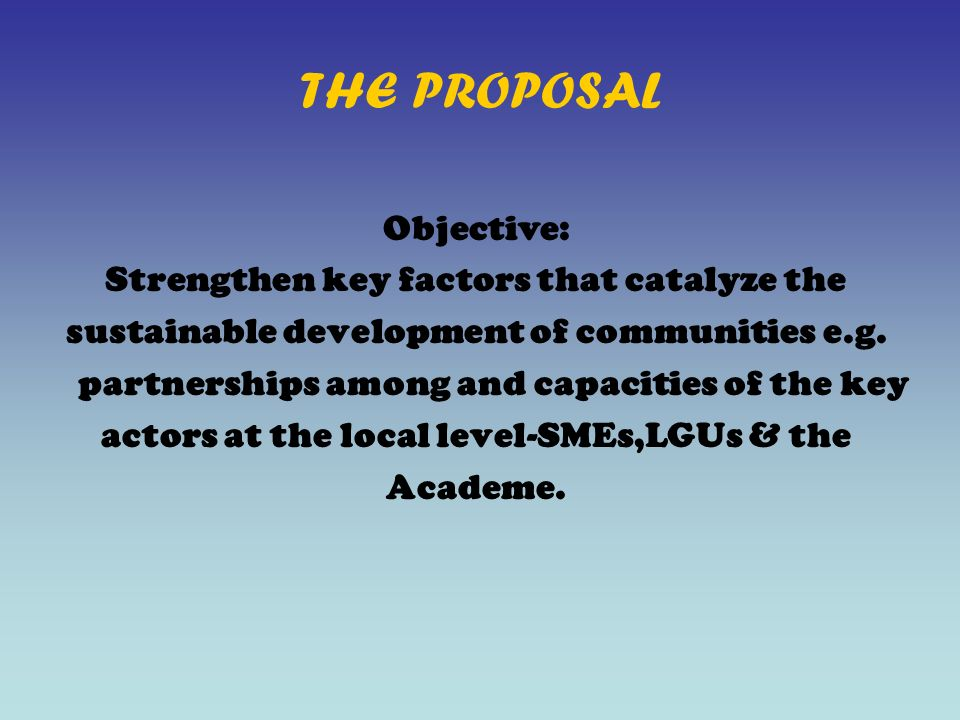 THE PROPOSAL Objective: Strengthen key factors that catalyze the sustainable development of communities e.g.