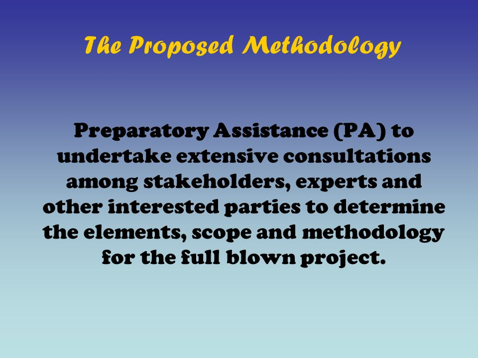 The Proposed Methodology Preparatory Assistance (PA) to undertake extensive consultations among stakeholders, experts and other interested parties to determine the elements, scope and methodology for the full blown project.
