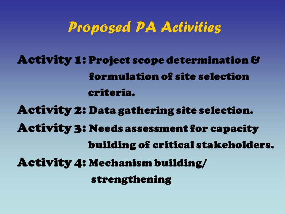 Proposed PA Activities Activity 1: Project scope determination & formulation of site selection criteria.