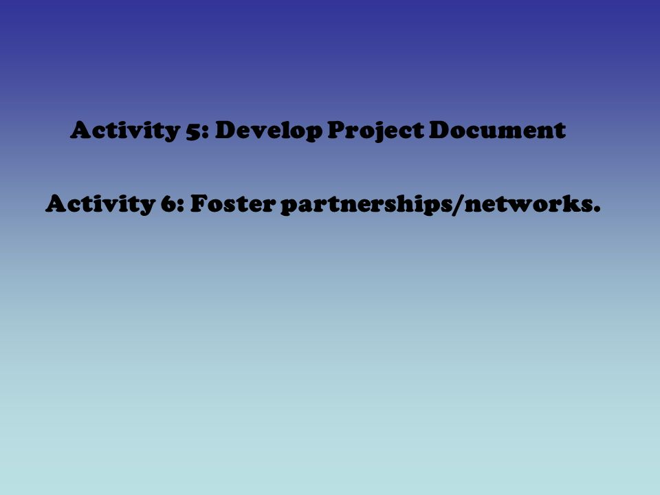 Activity 5: Develop Project Document Activity 6: Foster partnerships/networks.