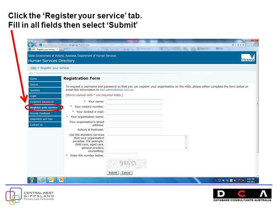 Click the 'Register your service' tab. Fill in all fields then select 'Submit'