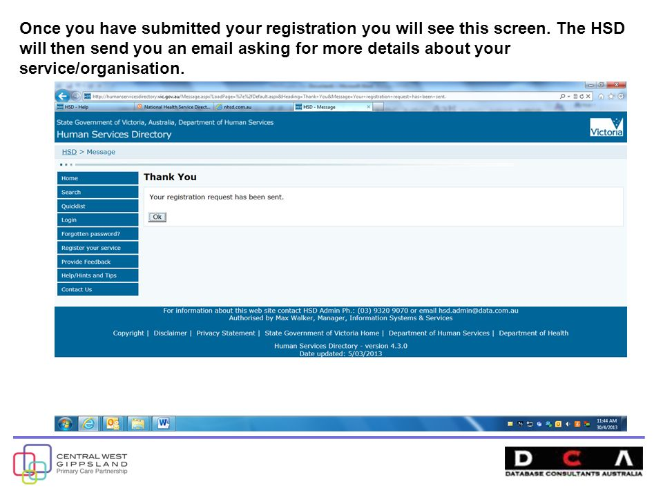 Once you have submitted your registration you will see this screen.