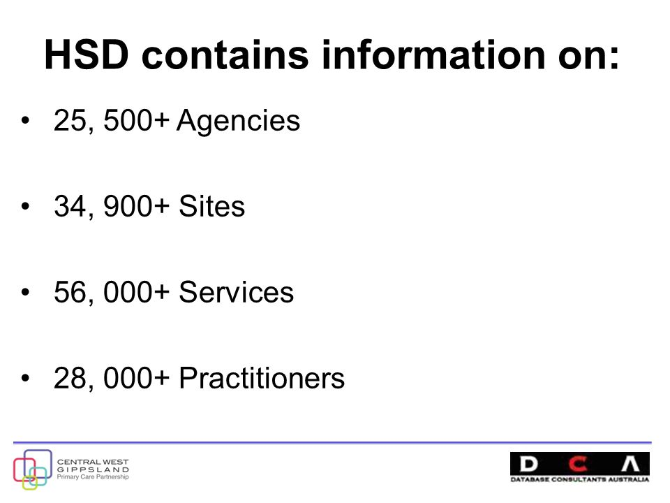 HSD contains information on: 25, 500+ Agencies 34, 900+ Sites 56, 000+ Services 28, 000+ Practitioners