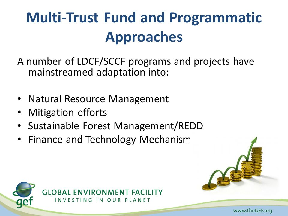 Multi-Trust Fund and Programmatic Approaches A number of LDCF/SCCF programs and projects have mainstreamed adaptation into: Natural Resource Management Mitigation efforts Sustainable Forest Management/REDD Finance and Technology Mechanisms