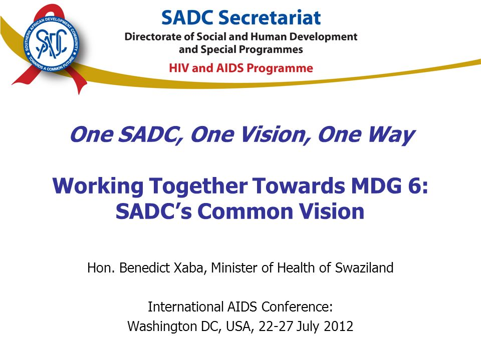 One SADC, One Vision, One Way Working Together Towards MDG 6: SADC's Common Vision Hon.