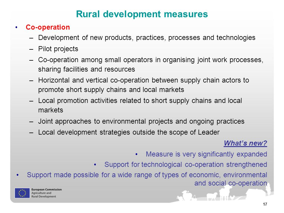 17 Co-operation –Development of new products, practices, processes and technologies –Pilot projects –Co-operation among small operators in organising joint work processes, sharing facilities and resources –Horizontal and vertical co-operation between supply chain actors to promote short supply chains and local markets –Local promotion activities related to short supply chains and local markets –Joint approaches to environmental projects and ongoing practices –Local development strategies outside the scope of Leader What's new.