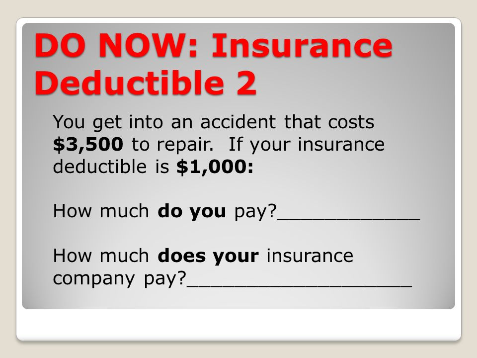 DO NOW: Insurance Deductible 2 You get into an accident that costs $3,500 to repair.
