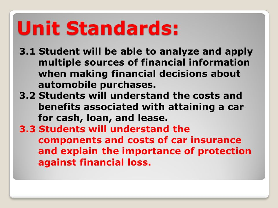Unit Standards: 3.1 Student will be able to analyze and apply multiple sources of financial information when making financial decisions about automobile purchases.