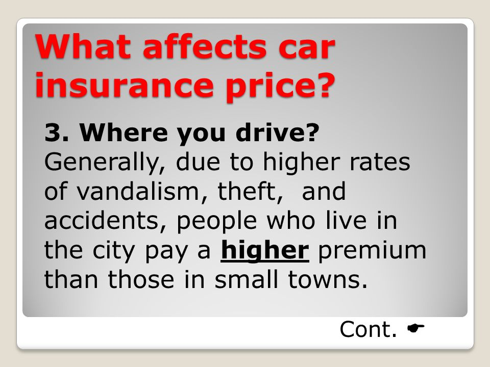What affects car insurance price. 3. Where you drive.