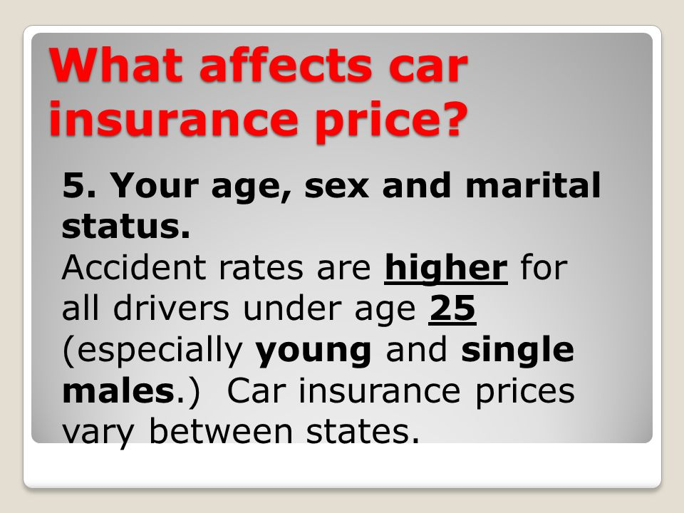 What affects car insurance price. 5. Your age, sex and marital status.