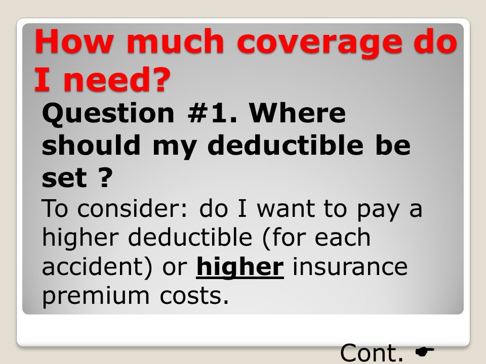 How much coverage do I need. Question #1. Where should my deductible be set .
