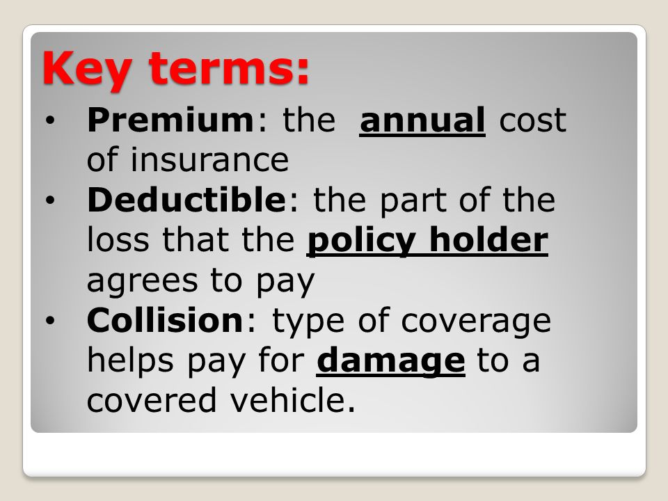 Key terms: Premium: the annual cost of insurance Deductible: the part of the loss that the policy holder agrees to pay Collision: type of coverage helps pay for damage to a covered vehicle.