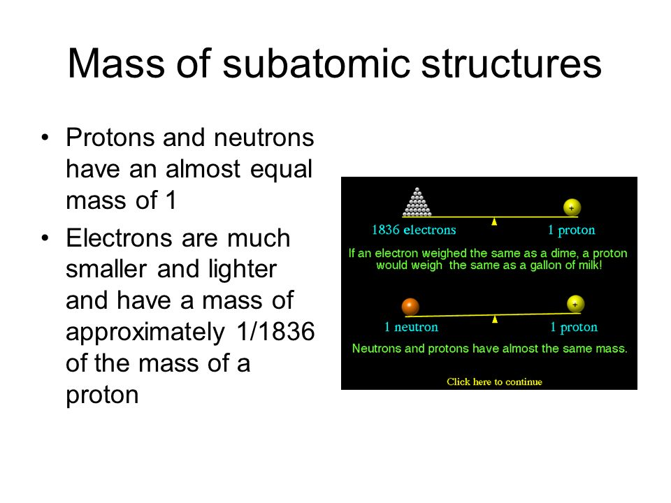 Mass of subatomic structures Protons and neutrons have an almost equal mass of 1 Electrons are much smaller and lighter and have a mass of approximately 1/1836 of the mass of a proton