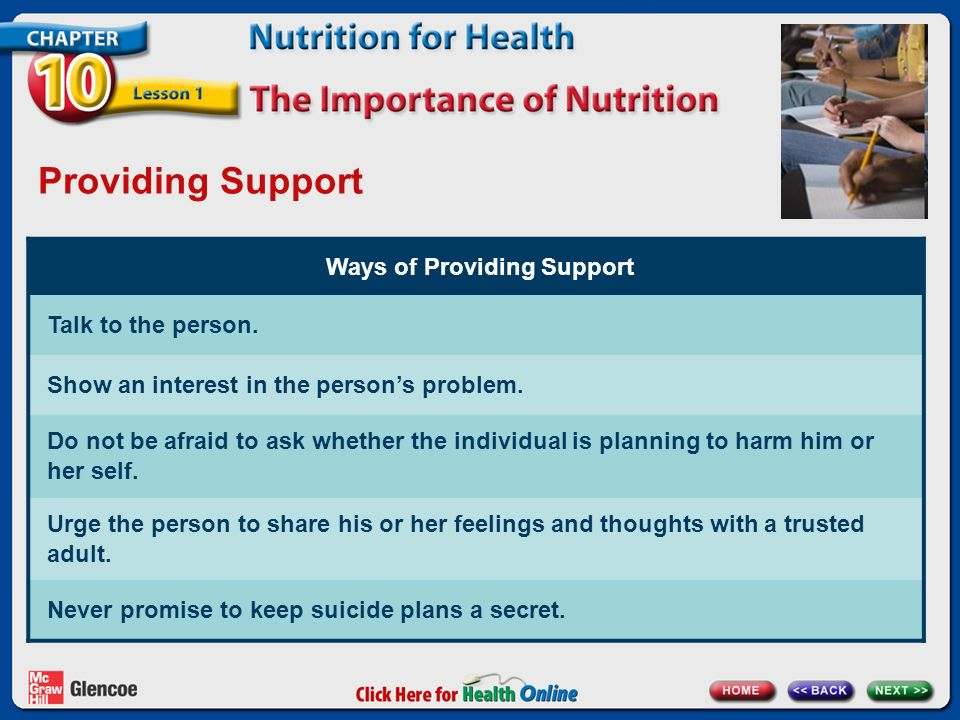 Providing Support Ways of Providing Support Talk to the person.