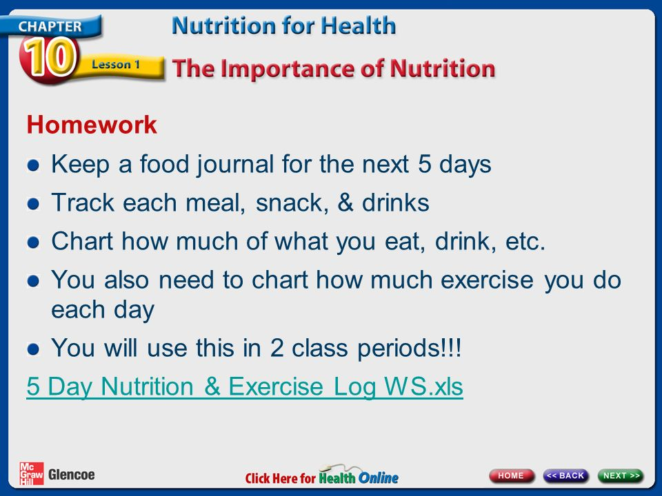 Homework Keep a food journal for the next 5 days Track each meal, snack, & drinks Chart how much of what you eat, drink, etc.