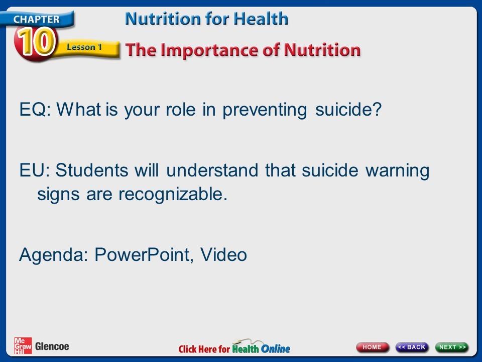 EQ: What is your role in preventing suicide.