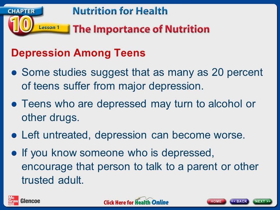 Depression Among Teens Some studies suggest that as many as 20 percent of teens suffer from major depression.