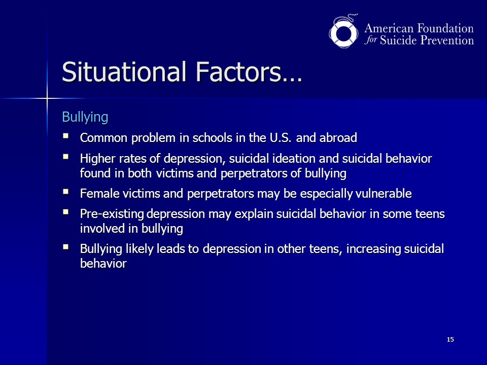 15 Situational Factors… Bullying  Common problem in schools in the U.S.