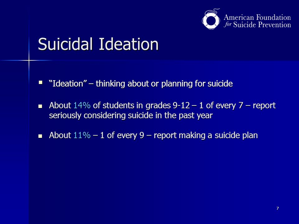 7 Suicidal Ideation  Ideation – thinking about or planning for suicide About 14% of students in grades 9-12 – 1 of every 7 – report seriously considering suicide in the past year About 14% of students in grades 9-12 – 1 of every 7 – report seriously considering suicide in the past year About 11% – 1 of every 9 – report making a suicide plan About 11% – 1 of every 9 – report making a suicide plan